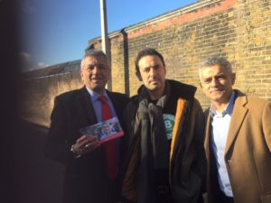 Our Branch President with Labour Mayor Candidate Sadiq Khan and East Londons Labour GLA Candidate Unmesh Desari